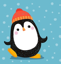 Hand drawn of cute penguin wearing red hat vector image vector image