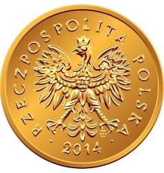obverse Polish Money two groszy copper coin vector image vector image