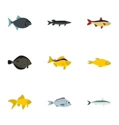 Tropical fish icons set flat style vector image