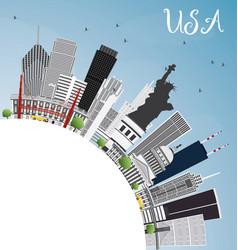 Usa skyline with gray skyscrapers landmarks and vector