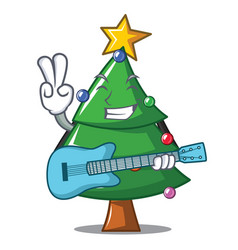 with guitar christmas tree character cartoon vector image