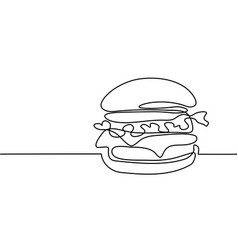 big hamburger with french fries vector image