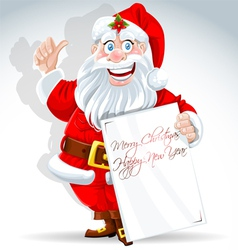 Cute Santa Claus holds banner for text vector image vector image