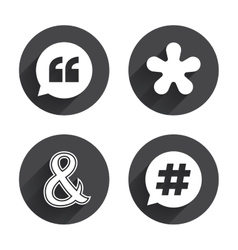 Quote asterisk footnote icons Hashtag symbol vector image vector image