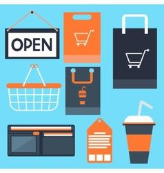 Shopping icons set basket bag label tag purse vector image