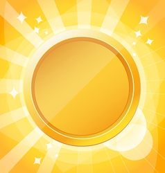 Yellow bright background with gold medal vector image