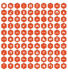 100 toys for kids icons hexagon orange vector image