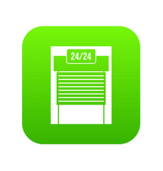 24 hours parking icon digital green vector image