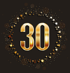 30 years anniversary gold banner vector