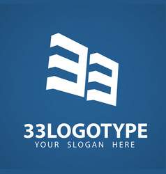 33 3 3 number logo design creative minimal modern vector