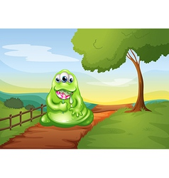 A monster walking while eating a lollipop vector