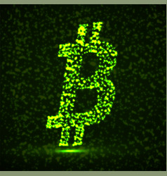 abstract sign bitcoin of glowing particles vector image