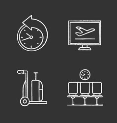 Airport service chalk icons set vector