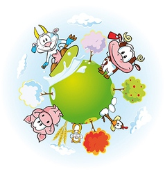 animal farm land vector image