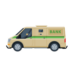 Armored cash van car khaki vehicle banking vector