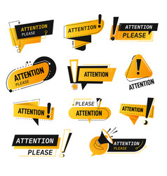 attention please banners and labels with caution vector image