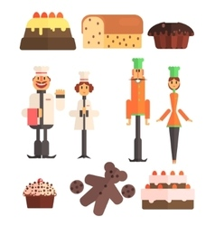 Bakery And Bakers Set vector