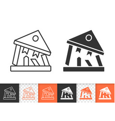 Bank collapse simple black line icon vector