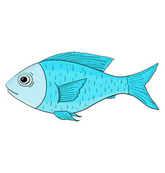blue fish hand drawn cartoon sketch vector image