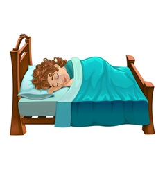Boy is sleeping on his bed vector