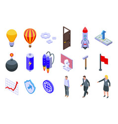 Breakthrough icons set isometric style vector