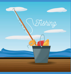 Bucket with fish and rod vector