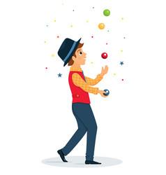 Cartoon juggler performs a circus trick vector