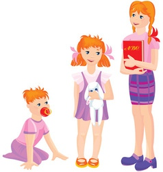 Cartoon of growing girls vector