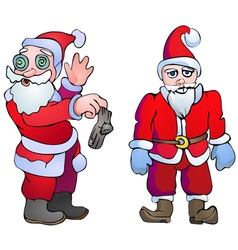 Choking santa with the socks and dangerous santa vector