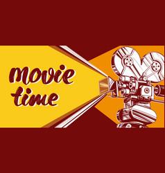 cinema logo festival vintage old movie camera vector image