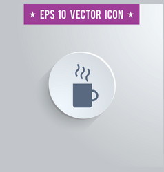 coffee mug symbol icon on gray shaded background vector image