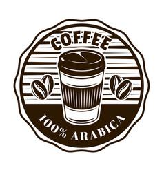 coffee round emblem badge label sticker vector image