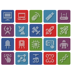 Collection rounded square dotted icons high vector