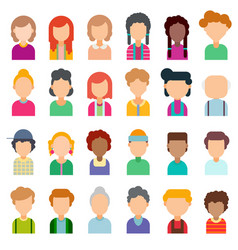 colorful set of avatars in flat design vector image