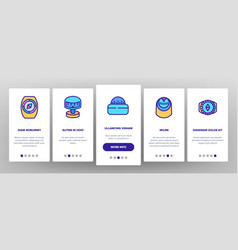Compass navigational onboarding icons set vector
