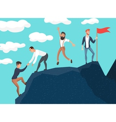 Concept of teamwork Business people in mountains vector image