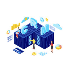 Crm hosting isometric customer relationship vector