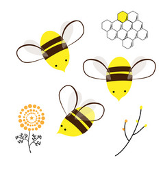 cute bee doodle flowers and honey comb set vector image