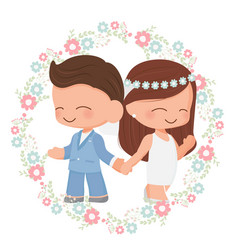 cute wedding couple in flower wreath flat style vector image