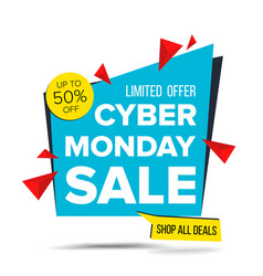 Cyber monday sale banner discount up to 50 vector