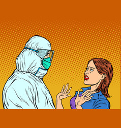 Doctor in protective suit and emotional patient vector