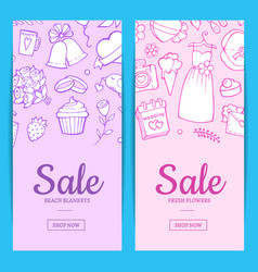 doodle wedding elements sale web banner vector image