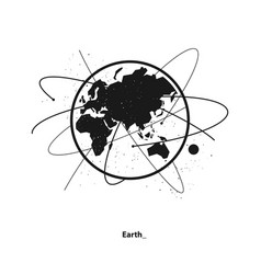 earth and satellite orbits vector image