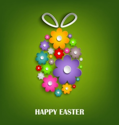 Easter card with floral egg vector image