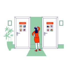 female character stand front two doors vector image