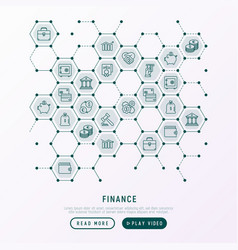 Finance concept in honeycombs with thin line icons vector