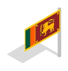 Flag of Sri Lanka with flagpole icon vector