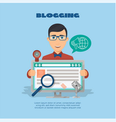 flat composition with male blogger and computer vector image