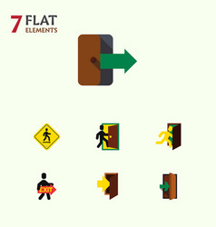 Flat icon door set of direction pointer vector