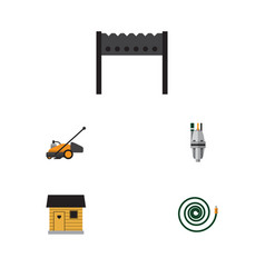 Flat icon garden set of hosepipe barbecue pump vector